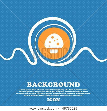 Mushroom Icon Sign. Blue And White Abstract Background Flecked With Space For Text And Your Design.