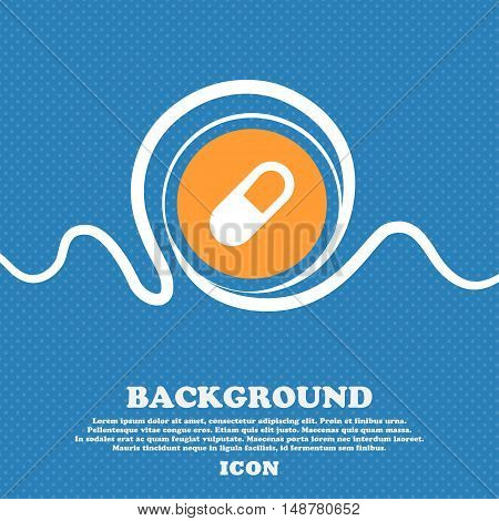 Pill Icon Sign. Blue And White Abstract Background Flecked With Space For Text And Your Design. Vect