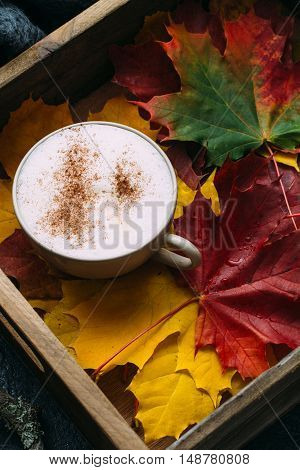 spiced latte or coffee in a glass on a vintage table. Autumn or winter hot drink.