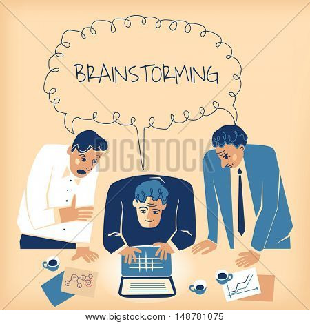 Three businessmen urgently brainstorming in the office with coffee, flipcharts and a laptop/notebook.