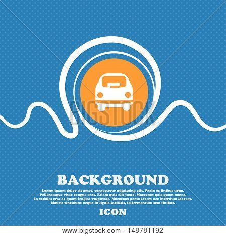 Car Icon Sign. Blue And White Abstract Background Flecked With Space For Text And Your Design. Vecto