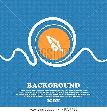 Feather Icon Sign. Blue And White Abstract Background Flecked With Space For Text And Your Design. V