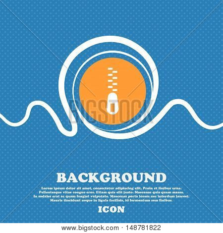 Zipper Icon Sign. Blue And White Abstract Background Flecked With Space For Text And Your Design. Ve