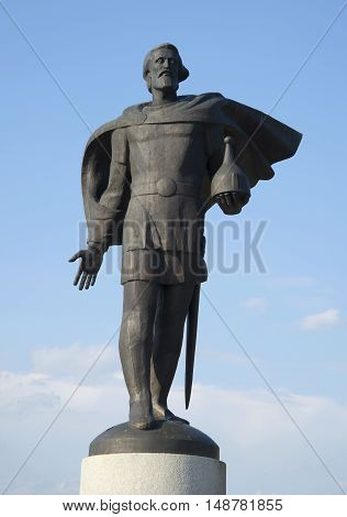 VELIKIY NOVGOROD, RUSSIA - JULY 04, 2015: Sculpture of Alexander Nevsky against the blue summer sky. Historical landmark of the city Veliky Novgorod