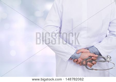 Doctor Hand With Stethoscope, Medicine Concept, Screen Background