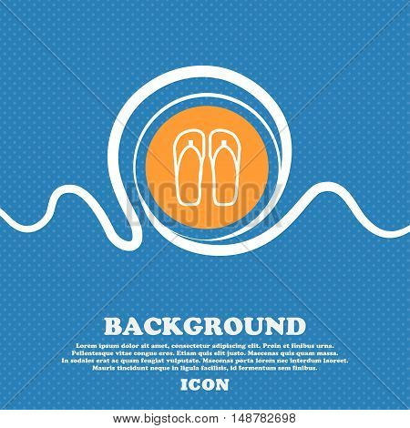 Flip-flops. Beach Shoes. Sand Sandals Icon Sign. Blue And White Abstract Background Flecked With Spa