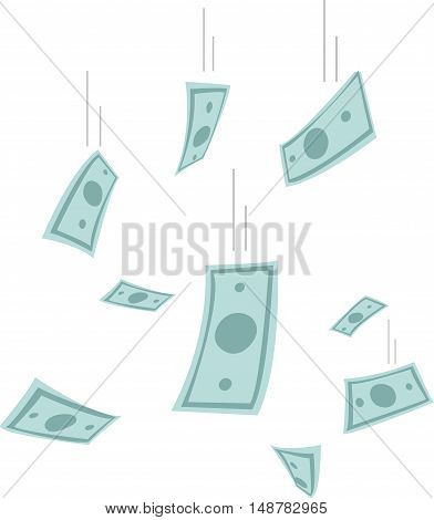 Finance concept. Money rain. Banknotes falling from the sky. 10EPS vector illustration