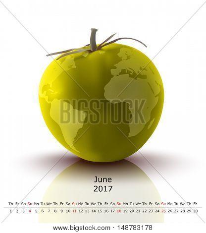 June 2017 tomato calendar - vector illustration
