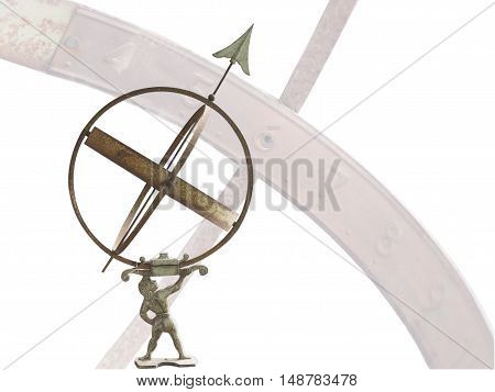 armillary sphere dial isolated on white background. The idea of predicting the stars.