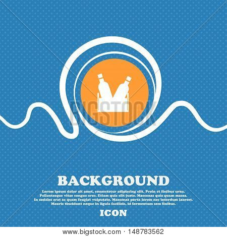 Beer Bottle Icon Sign. Blue And White Abstract Background Flecked With Space For Text And Your Desig