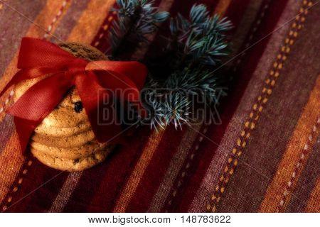 Christmas cookies with raisins. Christmas decorations.Selective focus