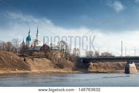 Orthodox Church On The River Coast. Kingisepp