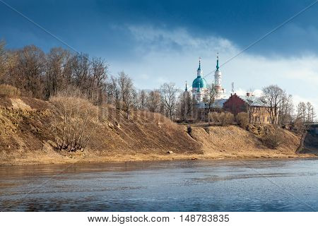 Orthodox Church On River Coast. Kingisepp