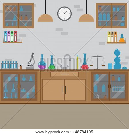 Flat Vector Laboratory Interior Design With Equipment, Furniture, Flasks And Other Stuff