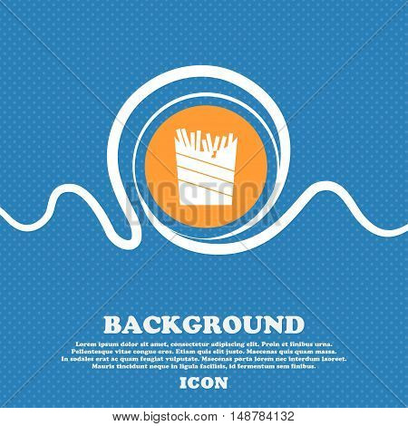 Fry Icon Sign. Blue And White Abstract Background Flecked With Space For Text And Your Design. Vecto