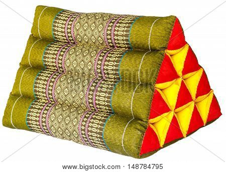 Traditional native Thai style pillow on white background