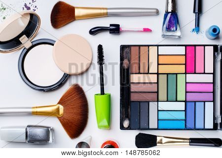 Makeup cosmetics closeup on white background