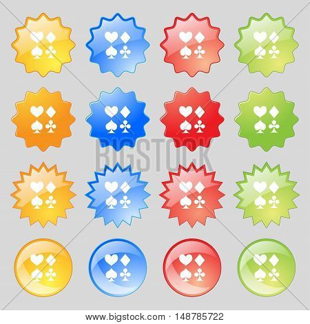 Card Suit Icon Sign. Big Set Of 16 Colorful Modern Buttons For Your Design. Vector