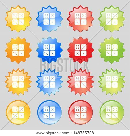 Dices Icon Sign. Big Set Of 16 Colorful Modern Buttons For Your Design. Vector