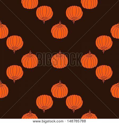 Decorative pumpkin pattern. Harvest Thanksgiving illustration. Isolated vector image.