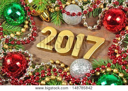 2017 Year Golden Figures And Spruce Branch And Christmas Decorations
