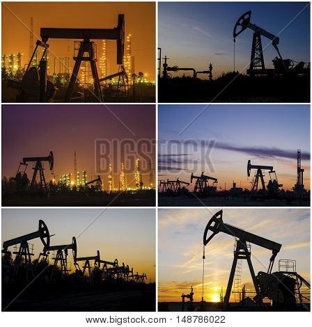 Oil rig derrick wellhead refinery during sunset in the oilfield. Collage. Oil and gas concept.