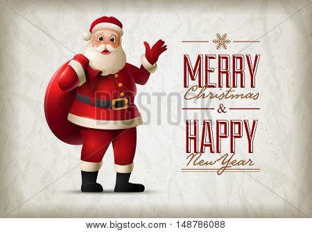 Santa Claus standing and smiling. Christmas vector illustration. Elements are layered separately in vector file.