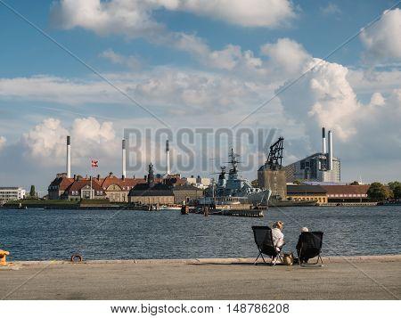 Old naval station in Copenhagen harbor in Denmark