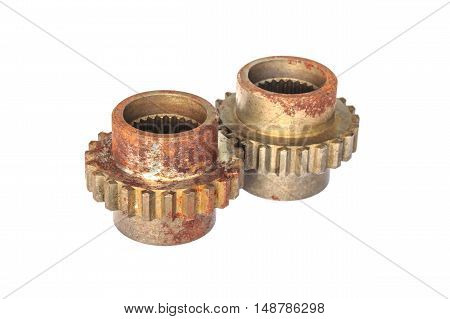 metal cog gears isolated on white background