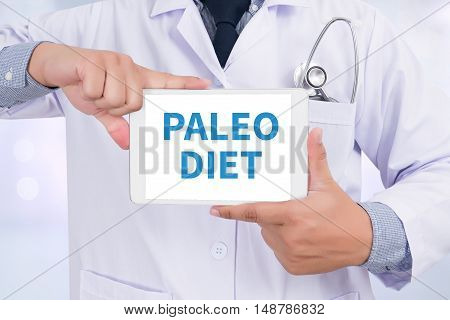 PALEO DIET Doctor holding digital tablet doctors work hard