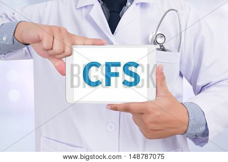 CFS Doctor holding digital tablet doctors work hard
