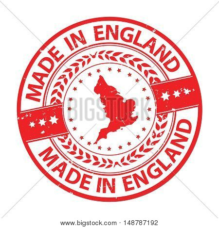 Made in England - grunge red label / stamp with the map of England. Print colors (CMYK) used