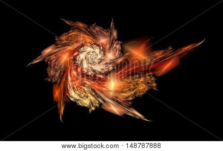 Abstract shining spiral on black background. Computer-generated fractal in red orange yellow and rose colors.