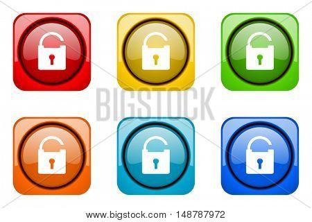 padlock colorful web icons