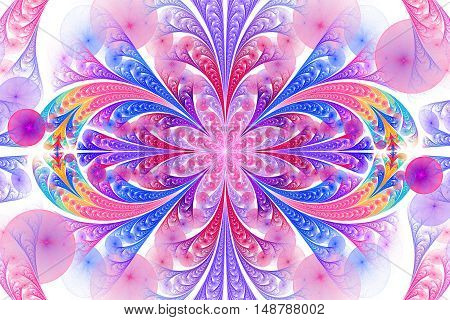 Abstract floral ornament on white background. Symmetrical pattern. Computer-generated fractal in rose blue yellow and violet colors.