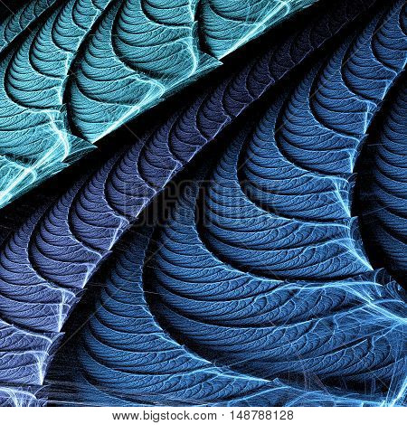 Blue leaf. Abstract floral texture. Computer-generated fractal in blue violet and turquoise colors.