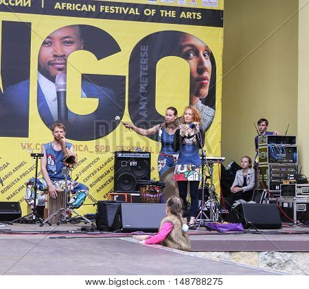 St. Petersburg, Russia - 13 August, The musicians on stage,13 August, 2016. Africa and the Russian Culture Festival on Krestovsky Island in St. Petersburg.