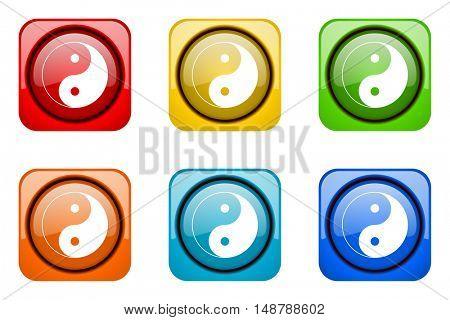 ying yang colorful web icons