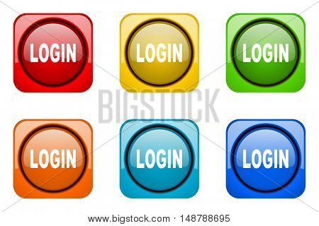 login colorful web icons