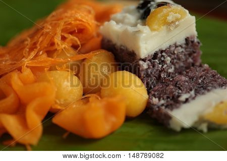 Thailand dessert or  Khanom  Thai  on banana leaf green.
