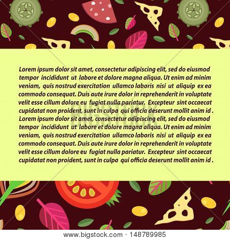 Vector background for pizza toppings. In the center of the wide rectangular strike for text