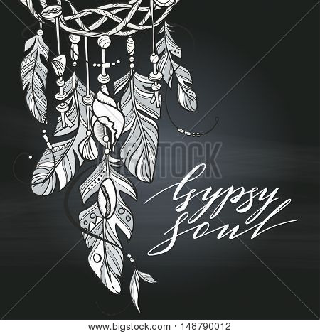 Vector Dreamcatcher Amulet of Sea Style. Native American Indian talisman with Feathers and Shells. Lettering Quote