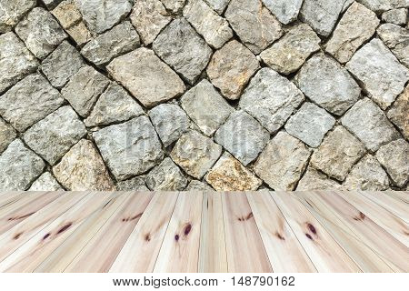 perspective wooden floor and stone wall background