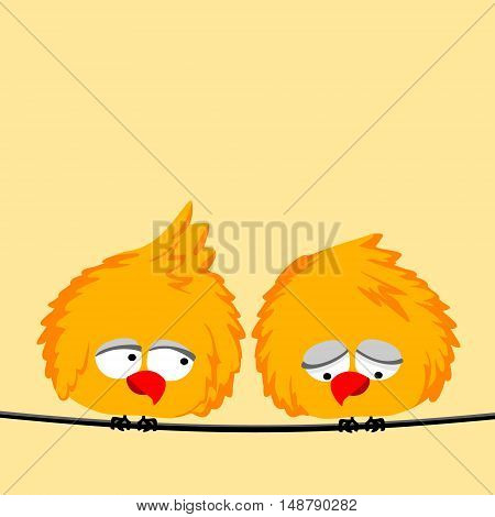 two birds sitting on the wires. vector illustration