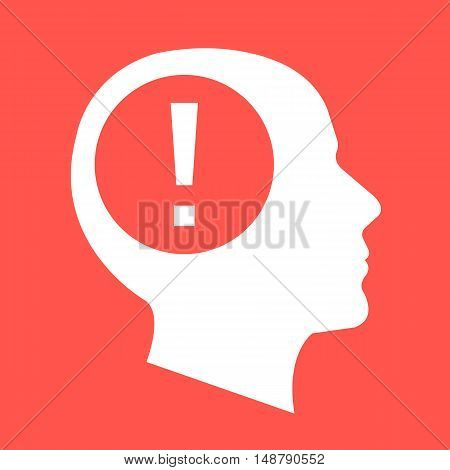 White human head, face profile silhouette with exclamation point. Flat design vector illustration isolated on red background