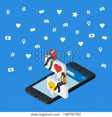 Social media marketing 3d isometric concept. Black 3d smartphone. Isometric People sit on the dialog box. Online dating and chat. Social icons. Exchange messages. Community & Flirt vector illustration