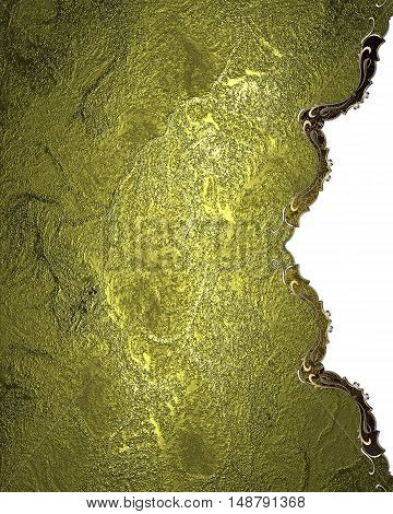Metal Background With Gold Ornaments. Template For Design. Copy Space For Ad Brochure Or Announcemen