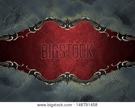 Grunge Red Plate With Gold Trim On Grey Background. Template For Design. Copy Space For Ad Brochure