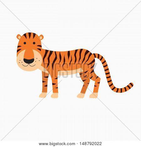 Cute tiger cartoon. illustration for the children