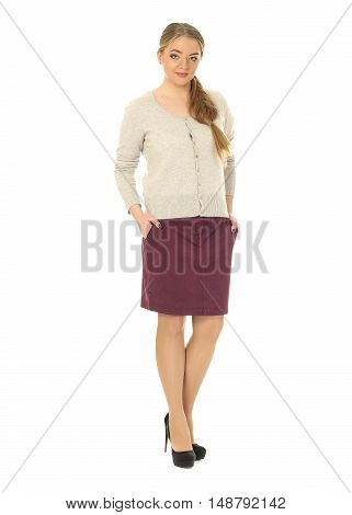 Studio Shot Of A Large Woman In Burgundy Skirt Isolated